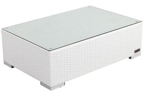 OUTFLEXX länglicher Kaffeetisch aus hochwertigem Polyrattan in weiß, inkl. Glasplatte, ca. 95x65x30 cm, Kleiner Garten-Tisch, Couchtisch, wetterfest, pflegeleicht, für den Outdoor-Bereich geeignet