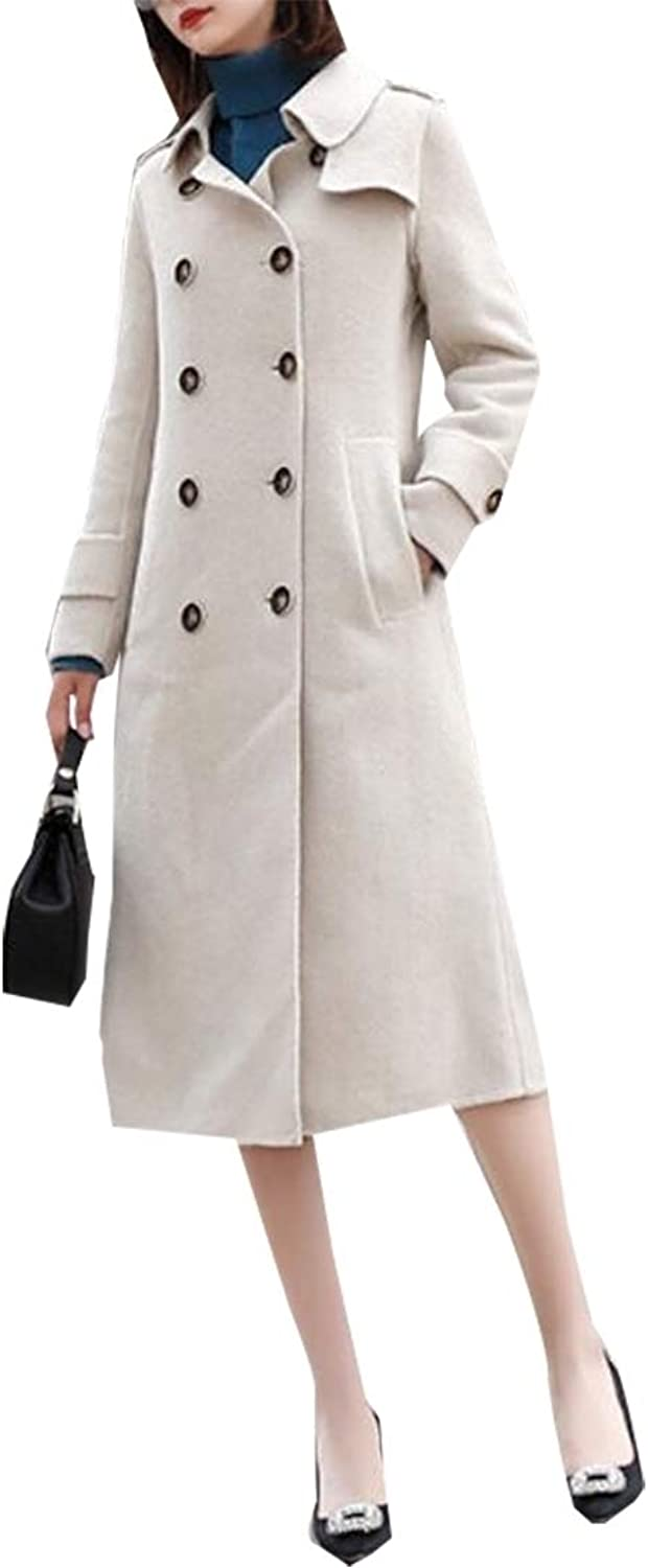 LEISHOP Women's Double Breasted Trench Coat Chelsea Tailoring Long Overcoat