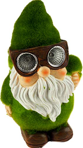 Roots & Shoots Garden Gnome with Solar Goggle Lights Flocked Grass & Stone Effect Ornament
