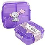 OLWO® Lunchbox-Bentobox für Kinder und Erwachsenen, Brotdose für Kindergarten und Schule mit Unterteilung, Bentobox Kinder Baby Elefant, Bento Box Kinder Violett (Violett)