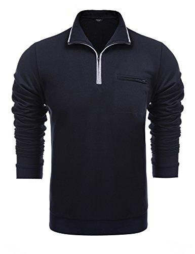 COOFANDY Men's Relaxed Fit Mock Neck Polo Quarter Zip Pullover Collar Sweatshirt Navy Blue