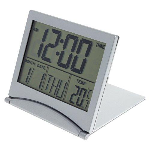 LCD Digitaluhr Wecker Reisewecker Kalender Datum Thermometer Alarmfunktion Tischuhr Standuhr klappbar in Silber