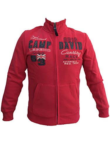 Camp David Herren Sweatjacke mit Stick- und Druckelementen CCU-2055-3587 (XXXL, racing red)