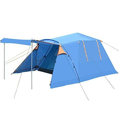 Im Freien Familie Camping Zelt, Quadratische Spitze Vier Türen Band Schneerock Zelt, Wasserdicht Automatisch Hochstrecken Zelt Mit Großer Raum 3-4 Personen Zelt (Color : Blue)