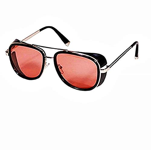 KIRALOVE Gafas de sol Tony stark - iron man - sexy - mujer - hombre - unisex - montura dorada - lente roja - gafas de sol de niño iron man tony stark