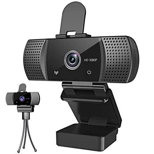 Webcam with Microphone Full 1080P HD with Privacy Cover & Tripod 110°Wide View Angle Plug and Play Laptop Desktop USB 2.0 Web Camera for Video Calling Online Class Conferencing Recording Gaming