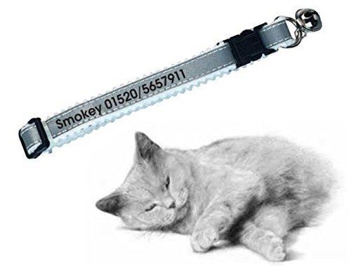 Personalisiertes Katzenhalsband silber, reflektierend, bedruckt mit Namen & Telefonnummer für ihren Liebling