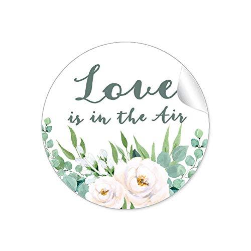 24 STICKER Hochzeit LOVE IS IN THE AIR • BOHO HIPPIE STYLE ZWEIGE BLÜTEN ROSEN BLÄTTER GRÜN WEIß • Gastgeschenke Seifenblasen Verpackungen zur Hochzeit Tischdeko Selbstgemachtes u.v.m.• 4cm rund matt
