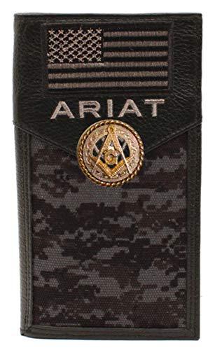 Custom Masonic Square and Compasses and American Flag Ariat Black Digital Camo long wallet