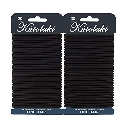 60 Pcs Value Pack Elastic Hair Ties for Women, Ponytails Hair Holders, Black No Metal Stretch Elastic Hair Bands, 4MM Girls Hair Elastic Ties for All Hairstypes, Set of 60 pcs