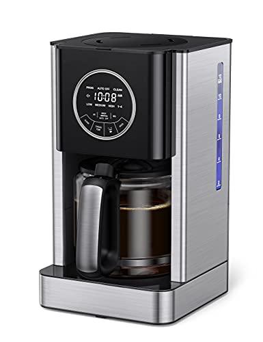 Filterkaffeemaschine mit Thermo-Kanne 1.8L Füllmenge 12 Tassen Kaffeemaschinen mit 24 Std. Timer Tropfstopp Einstellung der Kaffeestärke, LCD Smart-Touch-Steuerung, Warmhalte, Selbstreinigungsfunktion