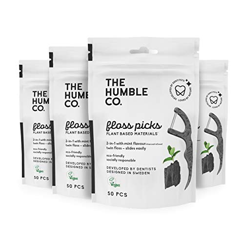 The Humble Co. Natural Dental Floss Picks (200 Count) - Vegan, Eco Friendly, Sustainable Dental...