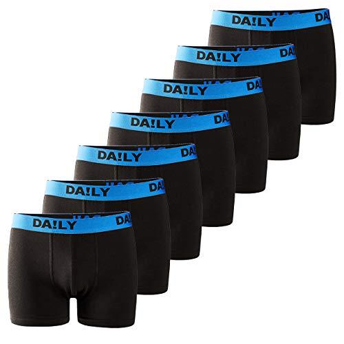 DA!LY UNDERWEAR Herren Boxershort Basic Boxer Retro Trunks 7er Pack Unterhosen Schwarz Waistband Bunt 95% Baumwolle Daily S M L XL XXL 3XL 4XL 5XL 6XL, Größe:4XL, Farbe:Blau/Schwarz