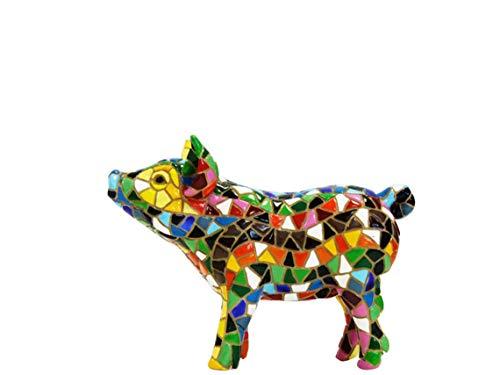 Laure TERRIER Statua di Maiale, Modello Classic, in Mosaico Barcino, Lunghezza 11 cm, per Collezione o Decorazione
