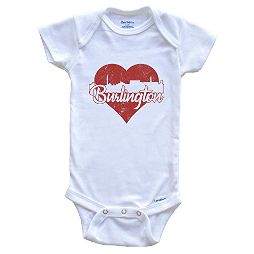 Retro Burlington Vermont Skyline Red Heart Baby Onesie, 6-9 Months White