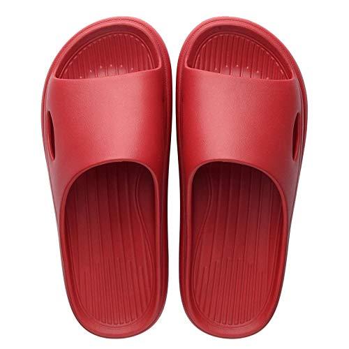 Hausschuhe Pantoletten Slipper Damen Herren Unisex Hausschuhe Frauen Schuhe Bad Folien Anti-Rutsch-Hausschuhe Hausschuhe Haushalts Bad Sandalen Männer-Rot_39-40