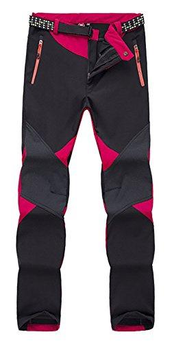 ChezMax Outdoor Women Waterproof Windproof Mountain Fleece Soft Shell Ski Pant, Red, M