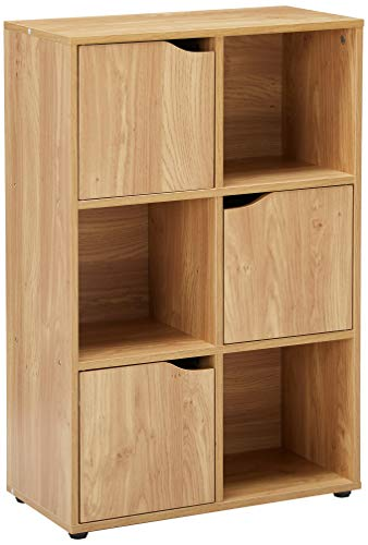 Home Basics Cube Shelves Natural Wood Shelf with Doors, Room, Clothes Storage, Home Décor, Bookshelf, Toy Organizer Home & Office – 3 Open/3 Cabinet-Style (6 C