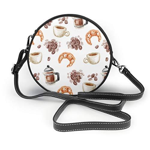 Wasserfarben bemalt Kaffee und Croissants Damen PU Leder Reißverschluss Rund Crossbody Schultertasche Tote Handtasche für Arbeit Reisen Dating