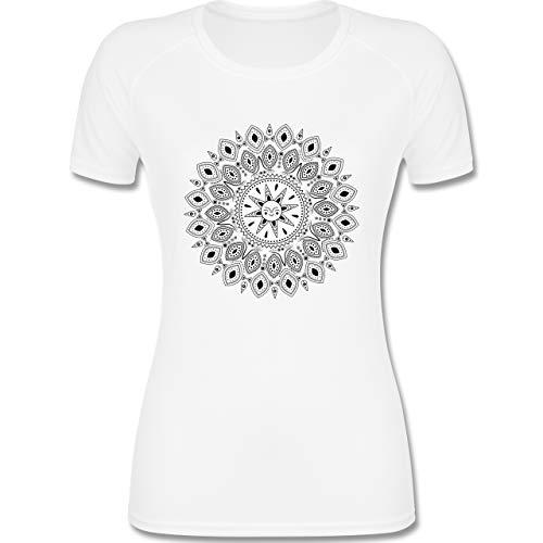 Shirtracer Wellness, Yoga & Co. - Boho Mandala Yoga Sketch - S - Weiß - Skizze - F355 - atmungsaktives Funktionsshirt für Damen