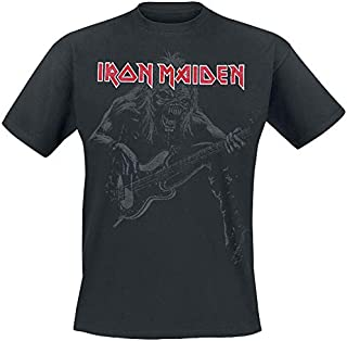 Iron Maiden Eddie Bass Hombre Camiseta Negro, Regular