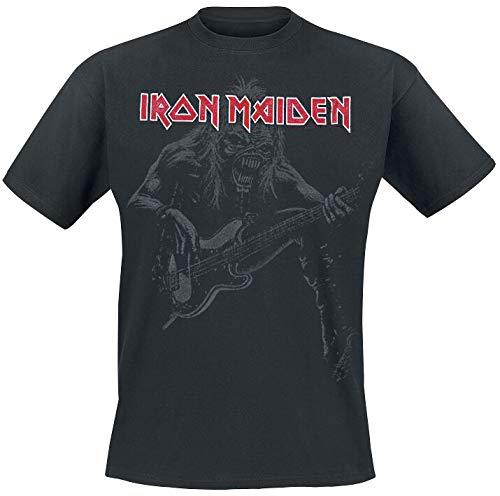 Iron Maiden Eddie Bass Hombre Camiseta Negro L, 100% algodón, Regular