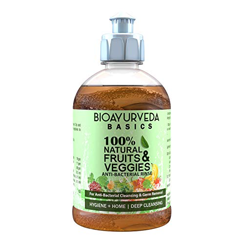 BIOAYURVEDA FRUITS & VEGGIES ANTI-BACTERIAL RINSE   100% Natural Cleansing, Disinfecting and detoxifying solution for fruits& Vegetables  Removes Germs, Bacteria, Chemicals, Wax, Soil, Toxins   500 ml