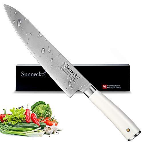 Sunnecko Kochmesser - Küchenmesser 20cm Profi Messer - Allzweckmesser aus Hochwertigem Carbon Edelstahl - Extra Scharfe Messerklinge mit Ergonomischem Griff für Haushaltsküchen
