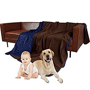 SMILETIME Waterproof Pet Throw Blanket for Bed, Water-Resistant Soft Dogs Cover for Sofa, Couch and Furniture Protector, Incontinence Bed Underpads for Cats (52 X 80 Inch, Navy and Chocolate)