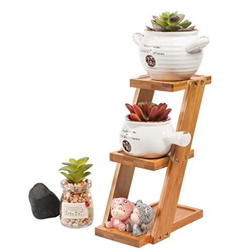 G-HJLXYZWJHOME Plant Stand Planter Bloembak Met Bamboe Frame Balkon Decoratie Display Ladder Outdoor/Indoor (Opmerking: Bloemen En Ornamenten In De Beeld Zijn Niet Inbegrepen)