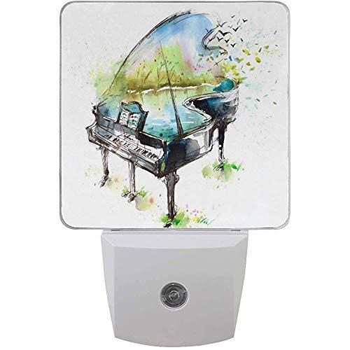 Katrine Store Mini nachtlicht aquarell Klavier kinderzimmer niedlich stecker in licht Dekoration Notfall Lampe für Kinder mädchen Jungen Kinder