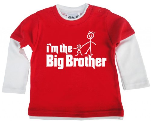 Dirty Fingers Dirty Fingers, I'm The Big Brother, Baby Skater Top, Rot & Wei?, 2-3 Jahre