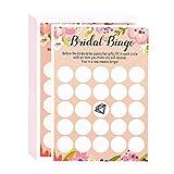 Best Paper Greetings Braut Bingo (50-Karten-Set) – Party-Spiel auf Englisch, Vintage-Blumendesign - Perfekt für Brautparty, Verlobungsparty, Junggesellinnenabschied, Hochzeitstag - Rosa 12,7 x 17,8 cm
