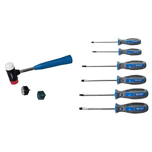 Silverline Tools 633905 Mazo 4 cabezas en 1 intercambiable Ø 37 mmmulticolor + 546524 Juego de destornilladores de agarre suave de uso general, 6 piezas, bicolores (azul/gris)