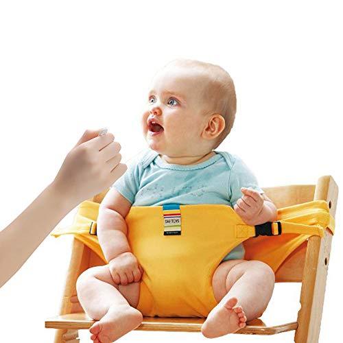Lychee Trona Portatil de Viaje para Bebe Tronas para Sillas Ideal para comer fuera/Viajes/Inicio/Restaurantes/Compras (Amarillo)
