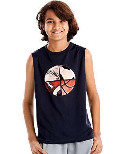 Hanes Boys Sport Graphic Sleeveless Tech Tee, L, Unlimited/Navy