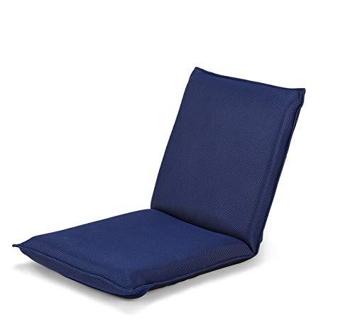 COSTWAY Silla Plegable de Suelo Silla de Piso con Respaldo Ajustable de 6 Posiciones Silla Tapizada para Salón Dormitorio Estudio (Azul Marino)