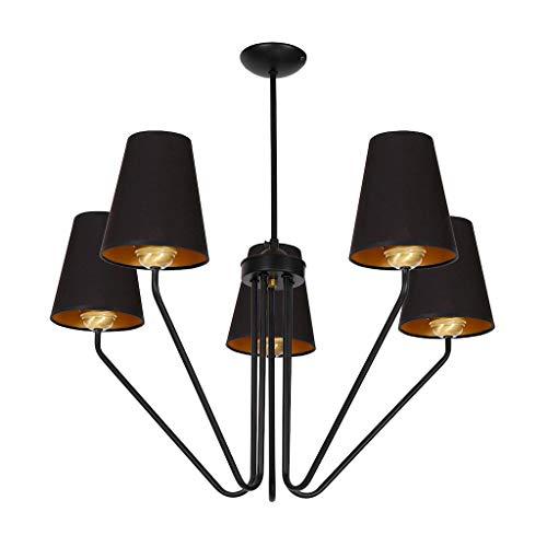 MILAGRO Lámpara de techo Victoria negra, lámpara de techo para salón, lámpara de techo industrial, vintage, para dormitorio, salón, comedor, 5 bombillas E27 230 V, IP20 MLP4913