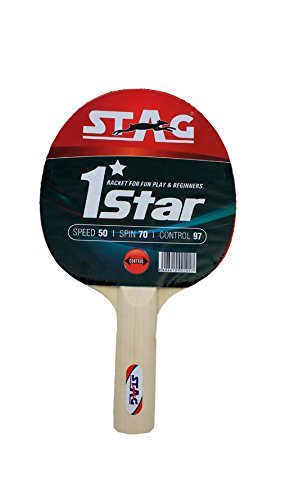 Stag 1 Star Table Tennis Racquet | 148 grams | Beginner | ITTF Approved Rubber | Multi- Color