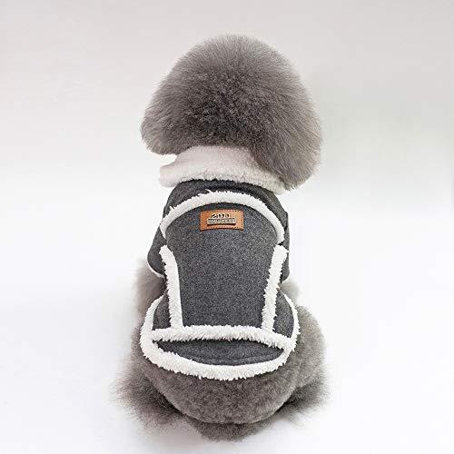 Tineer Mascota Perro Otoño Invierno Ropa Fresca Ropa de Abrigo Estilo Británico Chaleco Abrigo Chaqueta Abrigos con Cuello de Piel Pequeño Perros Medianos (S, Grey)