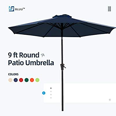 Bluu Patio Umbrella 9 Ft Outdoor Table Market Umbrellas with Push Button Tilt and Crank, 8 Ribs(Navy Blue)