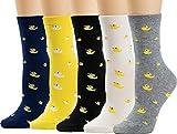 5 Pairs Women Crew Socks Casual Cute Cotton Animal Socks Long Ankle Socks Design...