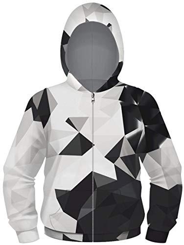 Ocean Plus Jungen Digitaldruck Hoodie Sweatjacke mit Kapuze Kapuzenjacke Kapuzenpullover mit Reißverschluss (XL (Körpergröße: 155-160cm), Schwarzweiß Geometrie)