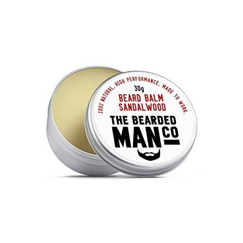 The Bearded Man Company Bálsamo para barba 30 g – 25 aromas diferentes para elegir nuevo todo natural dejar en acondicionador para hombres. 30 g lata (sándalo)