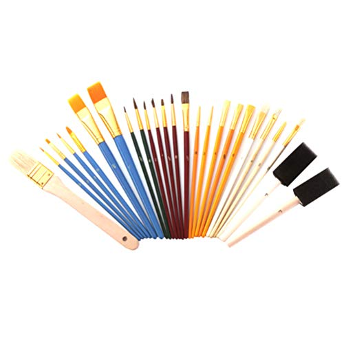 Artibetter 25 Stks Penselen Set Multifunctionele Kwast Waarde Pack Multifunctionele Olieverf Borstel Tekengereedschappen Voor Kinderen Kids (Diverse Kleur)