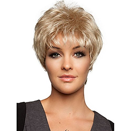 Mmuxuno Fashion Light Blonde Wigs For Older Women Natural Looking African American Short Straight Synthetic Hair Wig