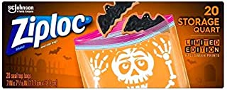 Limited Edition Ziploc Halloween Prints 20 Storage Quart Seal Top Bags