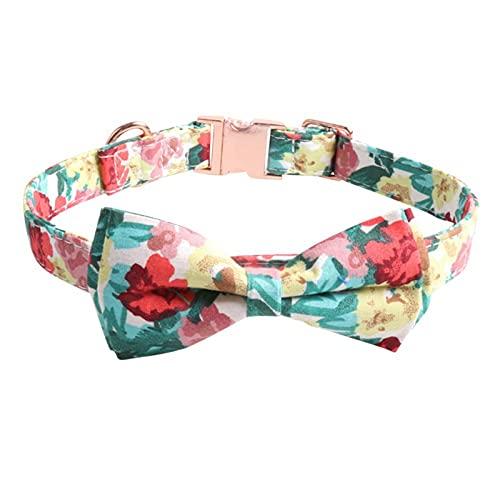 Collar de perro patrón de flores con pajarita L