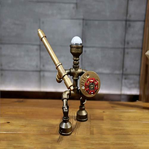 DEI QI Rétro lampe de table industrielle lampe de table de tuyau en fer forgé, série Samurai d'économie d'énergie LED lumière froide et chaude lampe de table de base en bois lampe de table grenier déc