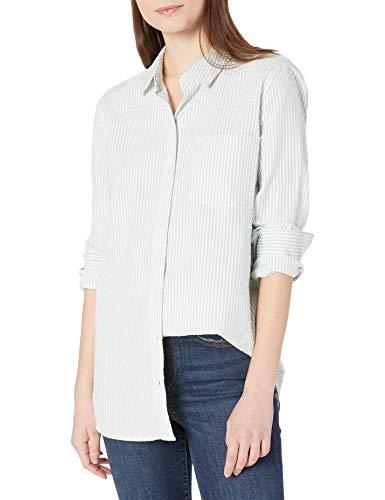 Amazon Brand - Goodthreads Women's Seersucker Long Sleeve Button Front Tunic Shirt, Mint Green/White Stripe, Large